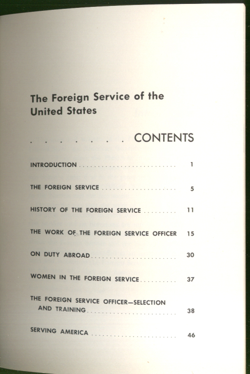 Image for The Foreign Service of the United States informational booklet 6 1958