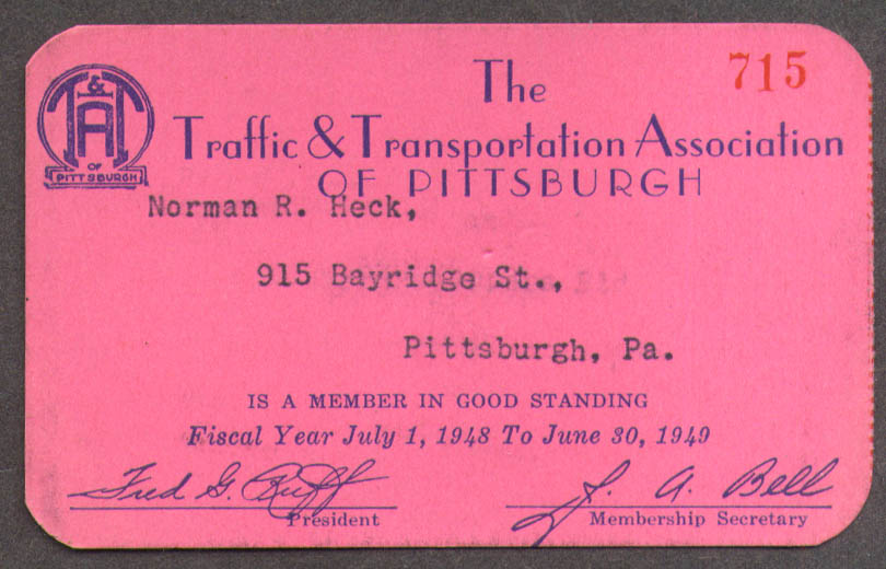 Image for Pittsburgh Traffic & Transportation Association Membership Card 1948-1949