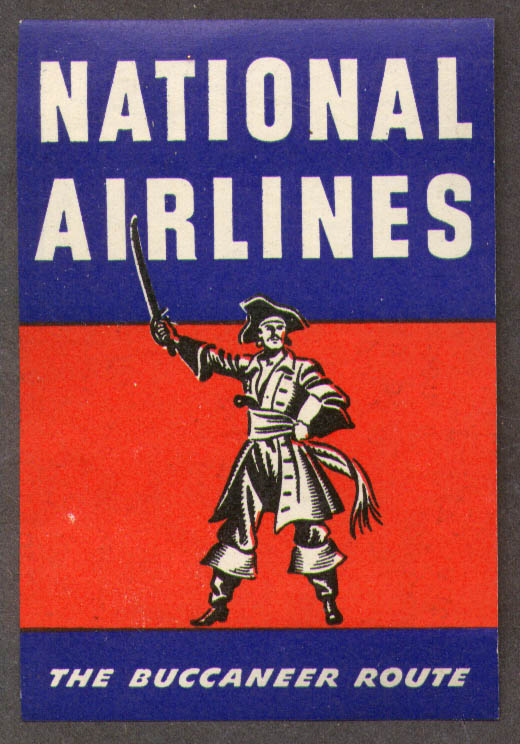 Image for National Airlines The Buccaneer Route baggage sticker 1950s