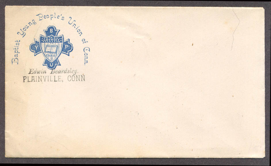 Image for Baptist Young People's Union of Connecticut Plainville member envelope ca 1890s