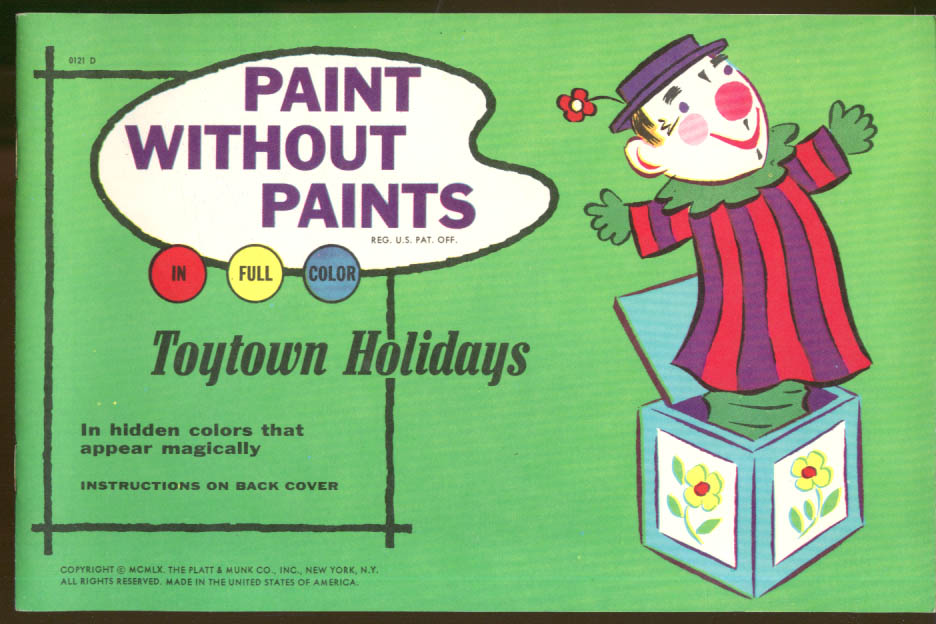 Image for Paint Without Paints Toytown Holidays Platt & Munk 1960 coloring book
