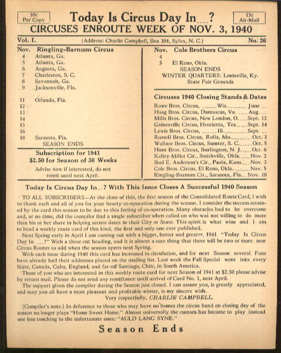 Image for Today is Circus Day Consolidated Route Card #26 11/3 1940 Ringling Bros et al