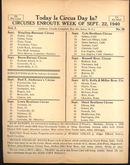 Image for Today is Circus Day Consolidated Route Card #20 9/22 1940 Ringling Bros et al