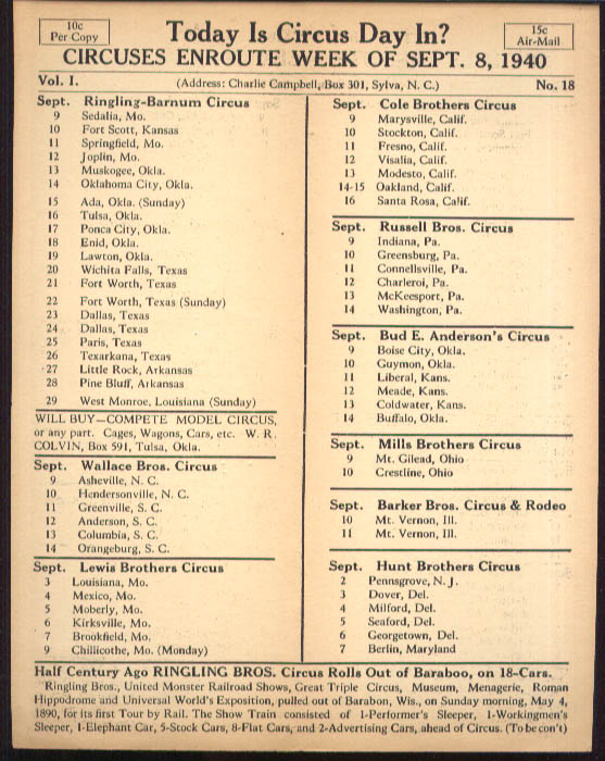 Image for Today is Circus Day Consolidated Route Card #18 9/8 1940 Ringling Bros et al