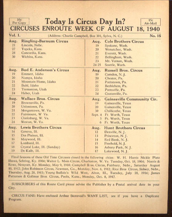 Image for Today is Circus Day Consolidated Route Card #15 8/18 1940 Ringling Bros et al