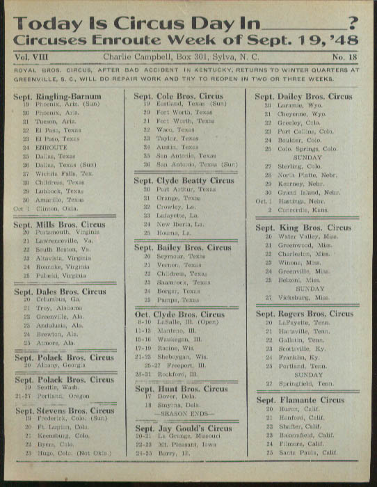 Image for Today is Circus Day Consolidated Route Card #18 9/19 1948 Ringling Bros et al