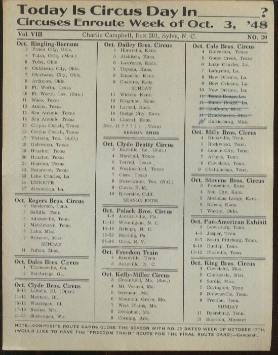 Image for Today is Circus Day Consolidated Route Card #20 10/3 1948 Ringling Bros et al