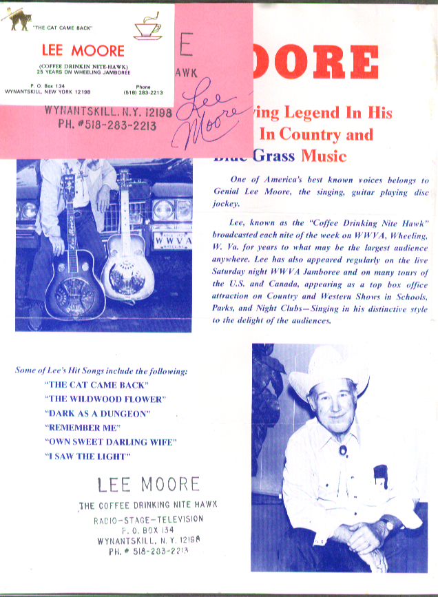 Image for Bluegrass singer Lee Moore SIGNED card & promo release & business card 1980s