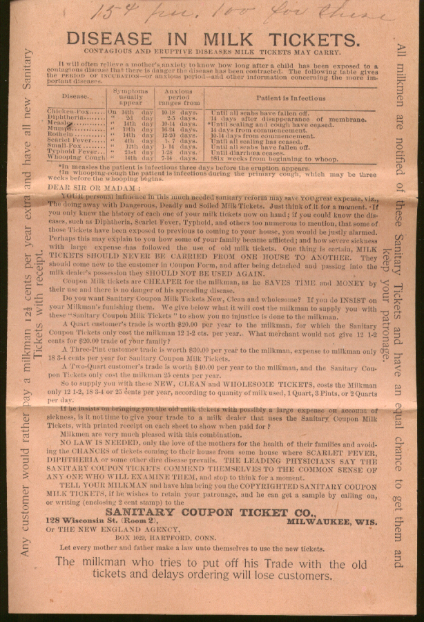 Image for Sanitary Coupon Milk Ticket Hartford CT letter & enclosures 1893