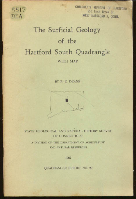 Image for Deane: Surficial Geology of Hartford South Quadrangle CT w/ map 1967