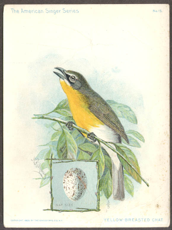 Image for Singer Sewing Machine American Singer Bird Series #15 Yellow-Breasted Chat 1900