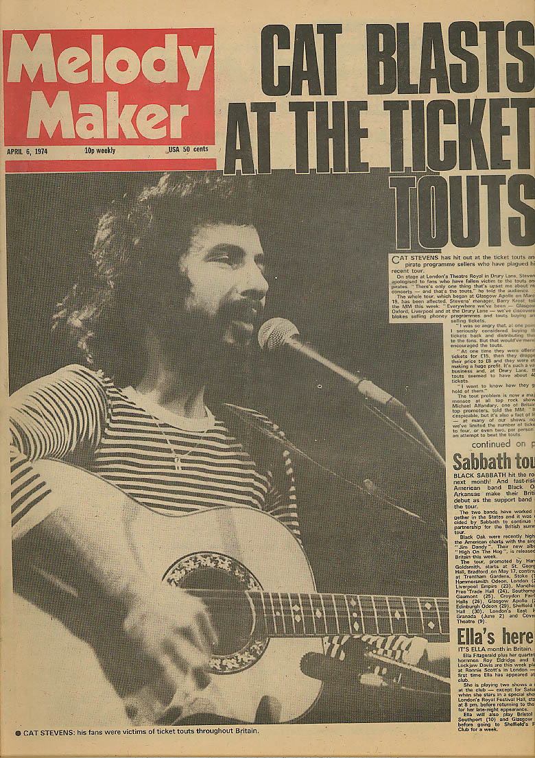 Image for MELODY MAKER Cat Stevens Black Sabbath Ella Fitzgerald 4/6 1974