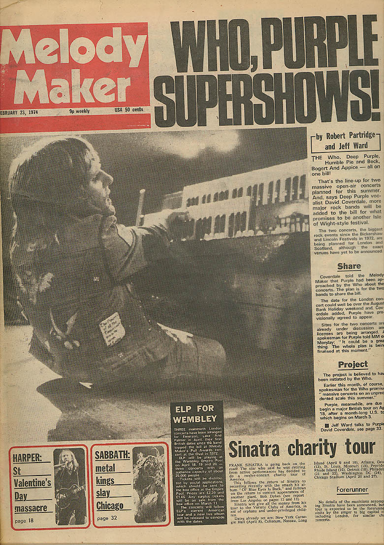 Image for MELODY MAKER The Who Deep Purple Black Sabbath Sinatra 2/23 1974