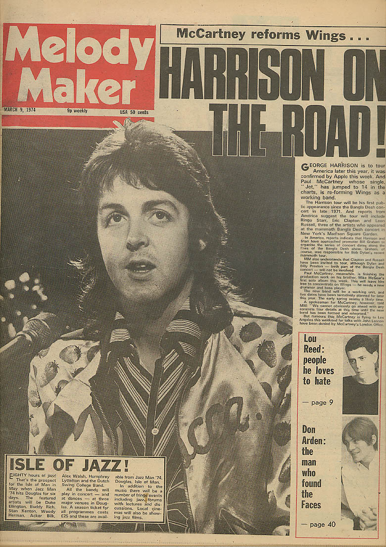 Image for MELODY MAKER George Harrison McCartney & Wings Lou Reed Don Arden 3/9 1972