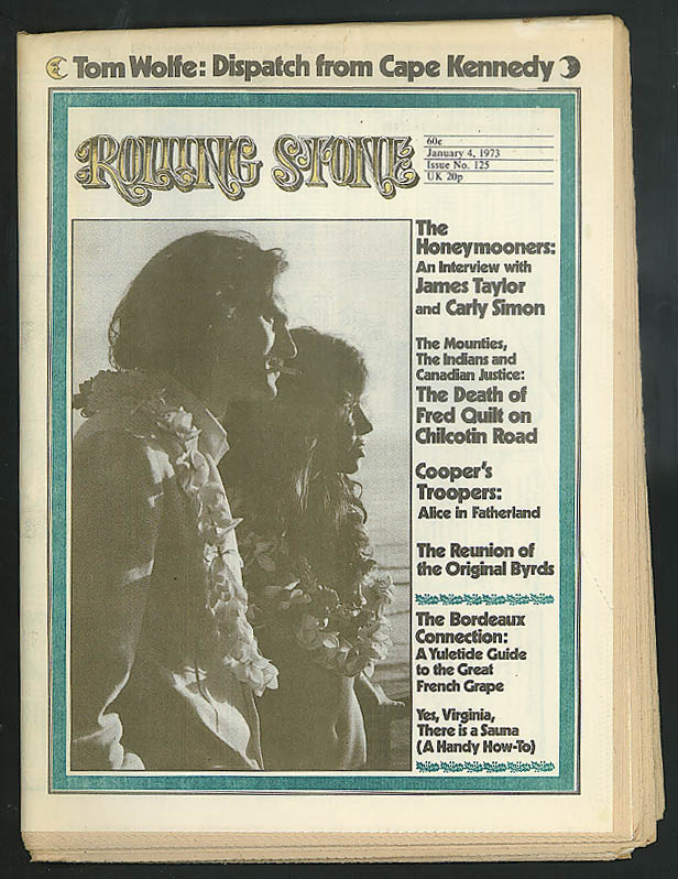 Image for ROLLING STONE James Taylor Carly Simon Fred Quilt death Tom Wolfe ++ 1/4 1973