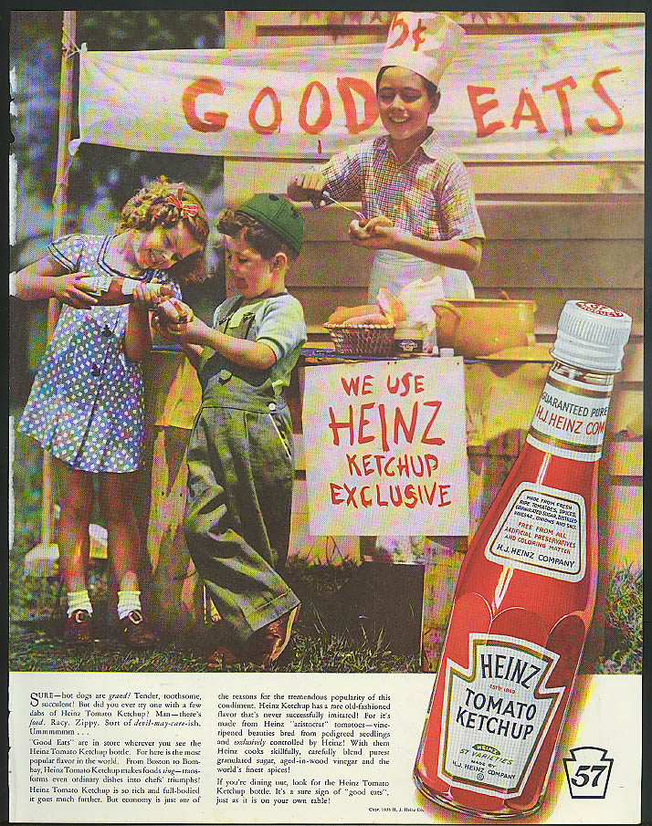 Image for We Use Heinz Ketchup Exclusive kids hot dog stand Good Eats ad 1938