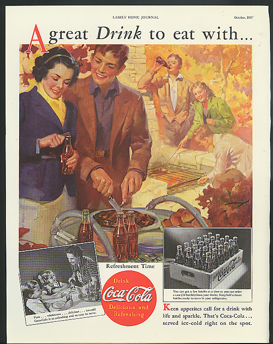 Image for A great drink to eat with Coca-Cola ad 1937 youths cooking out by Sundblom