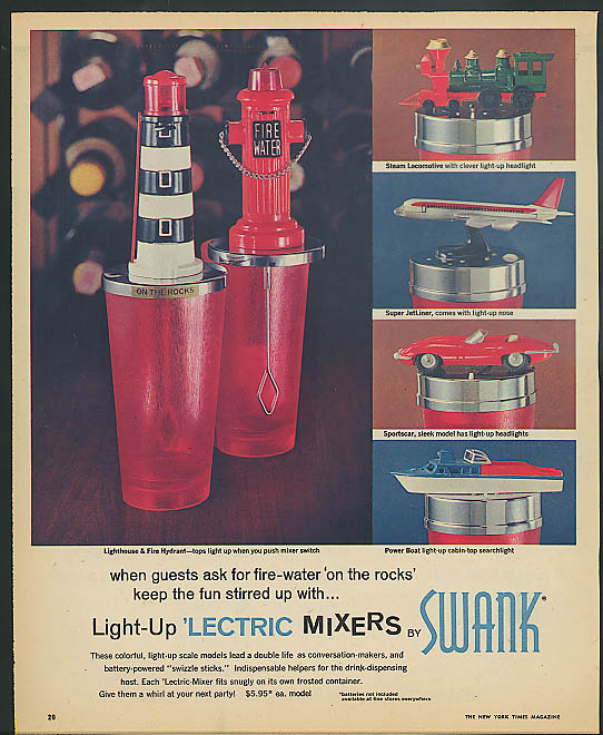 Image for Swank Lectric Drink Mixers ad 1965 Jaguar XK-E jetliner fireplug