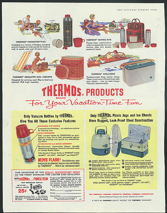 Image for Thermos Products for your Vacation-Time Fun ad 1959 bottle cooler chillybin