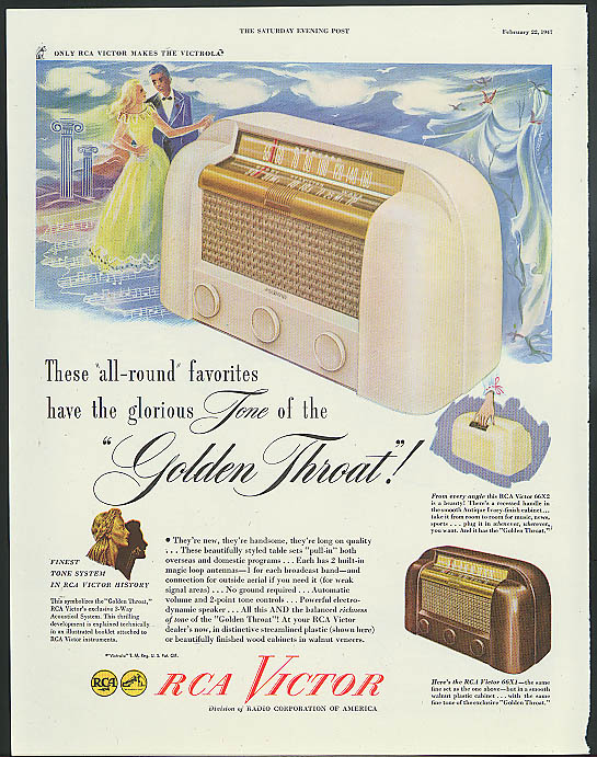 Image for All-round favorites glorious Tone of the Golden Throat RCA Victor Radio ad 1947