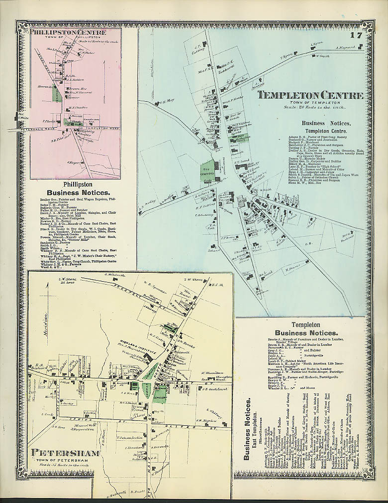 Image for F W Beers hand-colored 1870 Map of Templeton Centre Petersham Phillipston Ctr MA