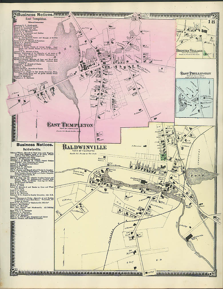 Image for F W Beers hand-colored 1870 Map of Baldwinville East Templeton Brooks Village MA
