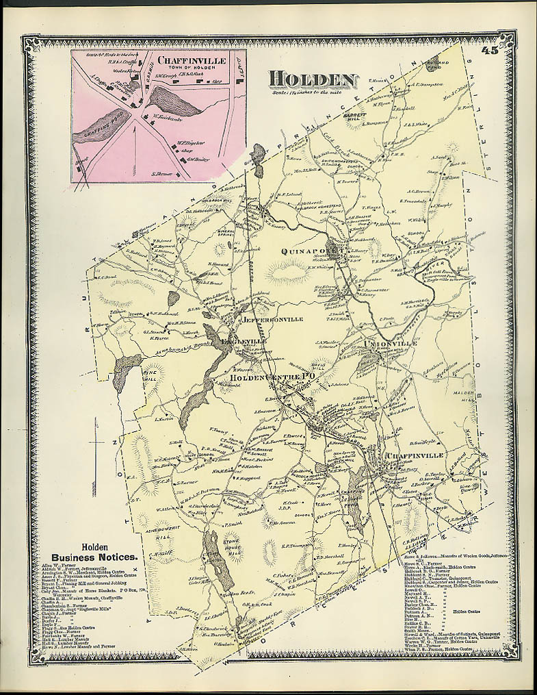 Image for F W Beers hand-colored 1870 Map of Holoden Chaffinville Quinapoxet MA