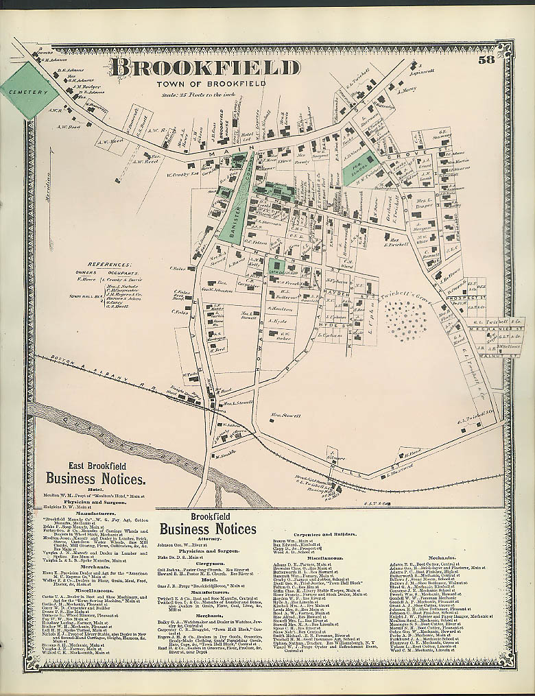 Image for F W Beers hand-colored 1870 Map of Brookfield MA w/ East Brookfield notices