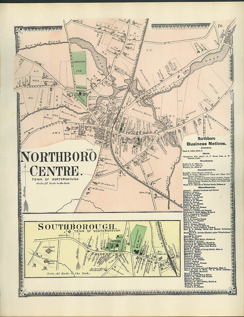Image for F W Beers hand-colored 1870 Map of Northboro Centre & Southborough MA