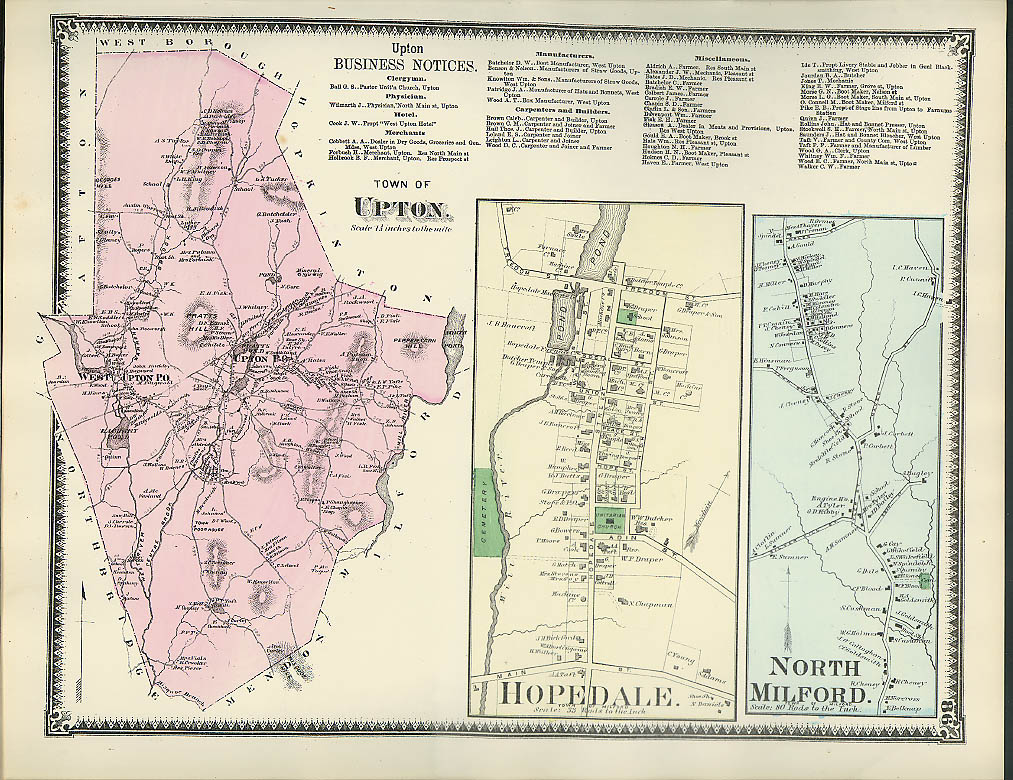Image for F W Beers hand-colored 1870 Map of Town of Upton Hopedale & North Milford