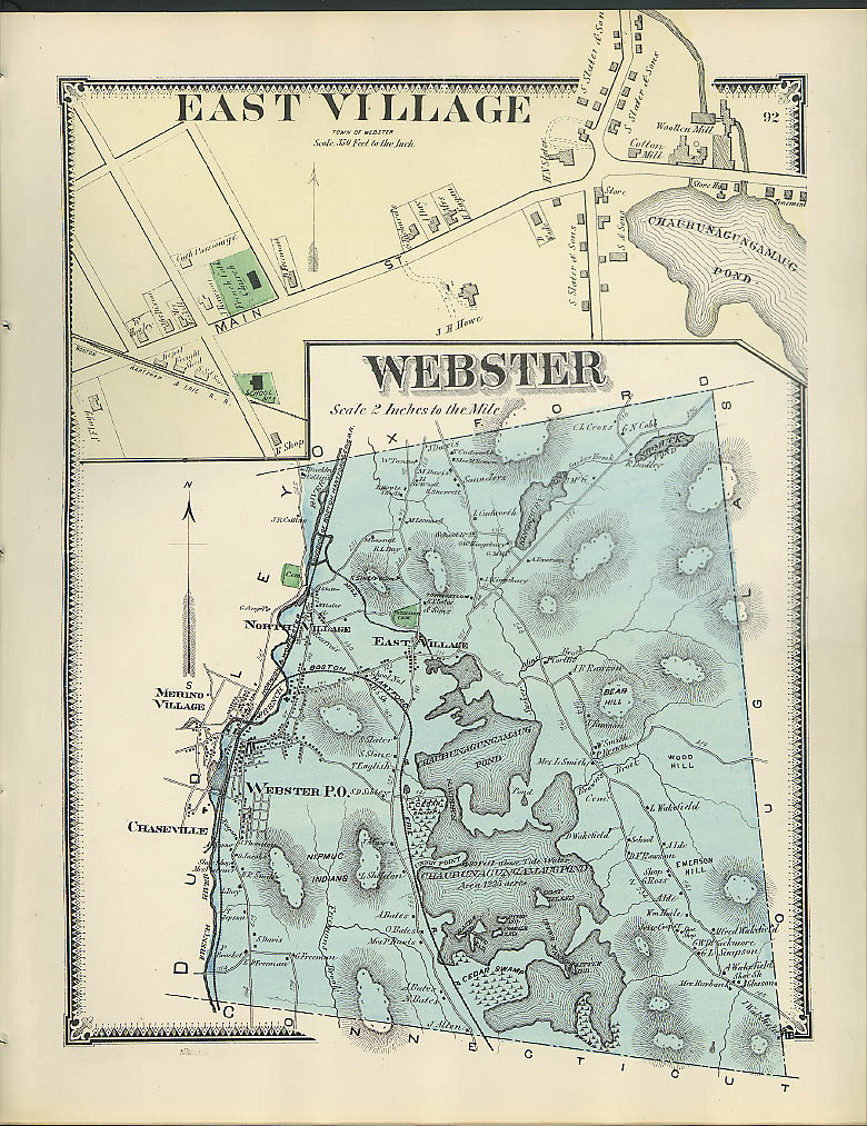 Image for F W Beers hand-colored 1870 Map of East Village & Webster MA