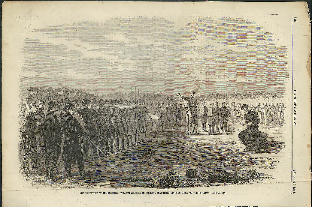 Image for Execution of William Johnson for Desertion Army Potomac Harper's Weekly 1861