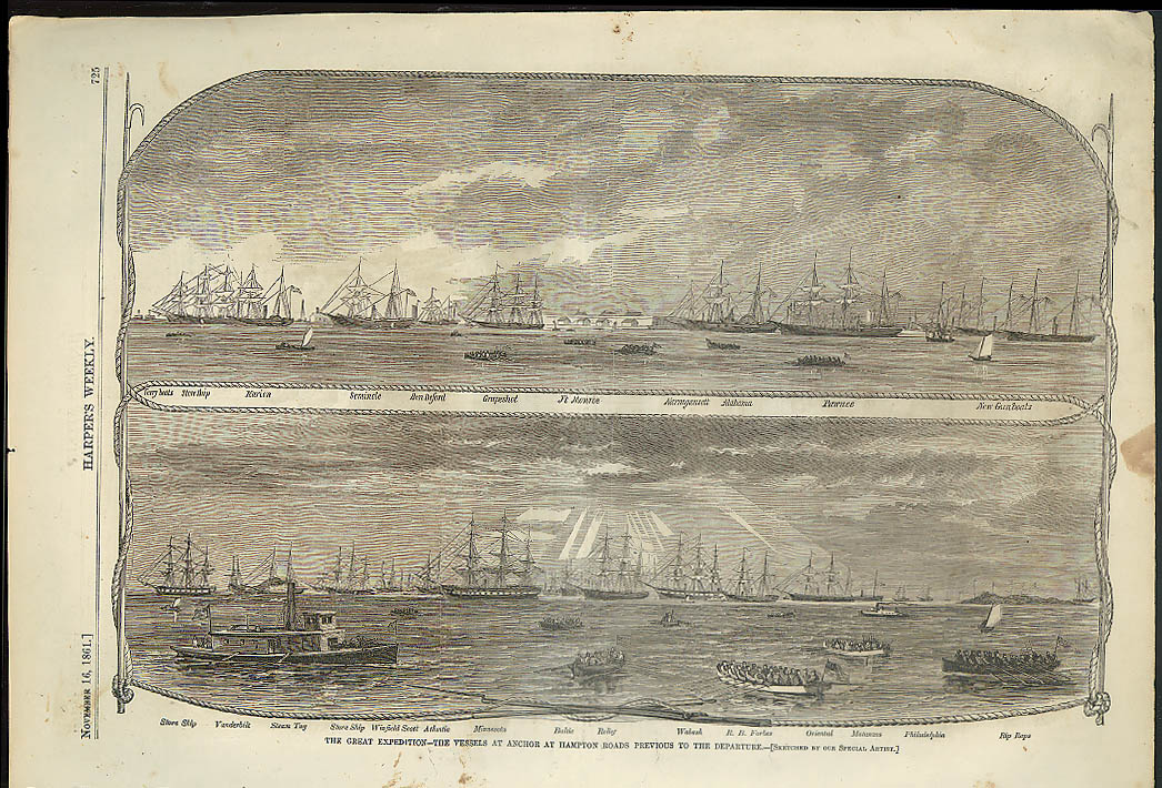 Image for Great Expedition Hampton Roads / Search for Rebel Arms MD Harper's Weekly 1861