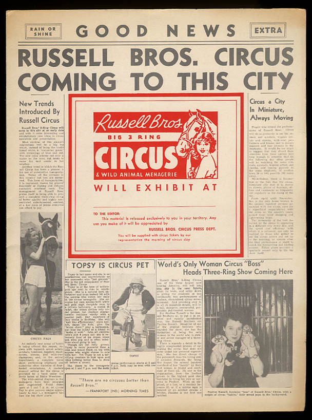 Image for Russell Bros Circus & Wild Animal Menagerie Press Kit portfolio 1940s