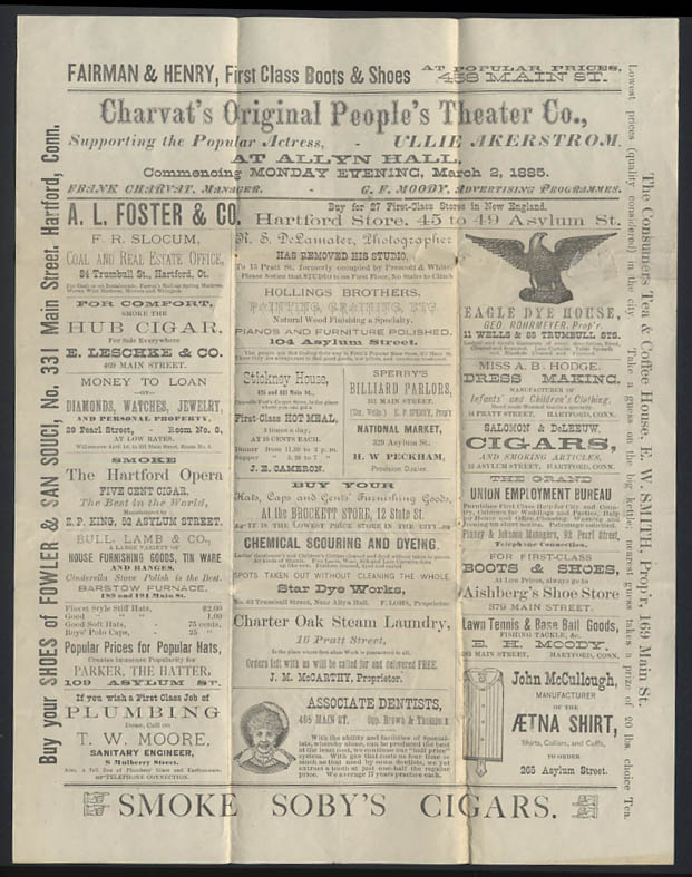 Image for Charvat's Original People's Theater Hartford CT prgrm 1885 Annette Dancing Girl