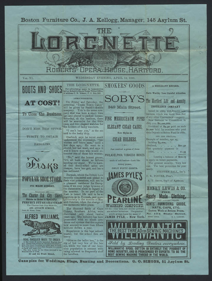 Image for Roberts Opera House LORGNETTE Hartford CT 4 1886 Fowler & Warmington Comedians