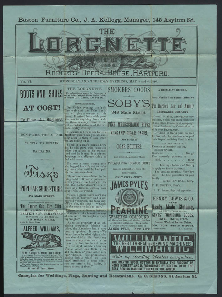 Image for Roberts Opera House LORGNETTE Hartford CT 5 1886 Mestayer & Vaughn We Us & Co
