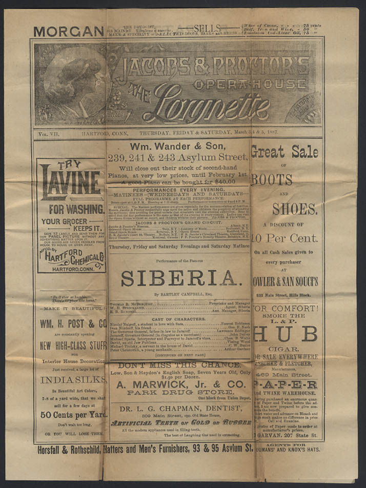 Image for Jacobs & Proctor's Opera House LORGNETTE Hartford CT 1887 Siberia