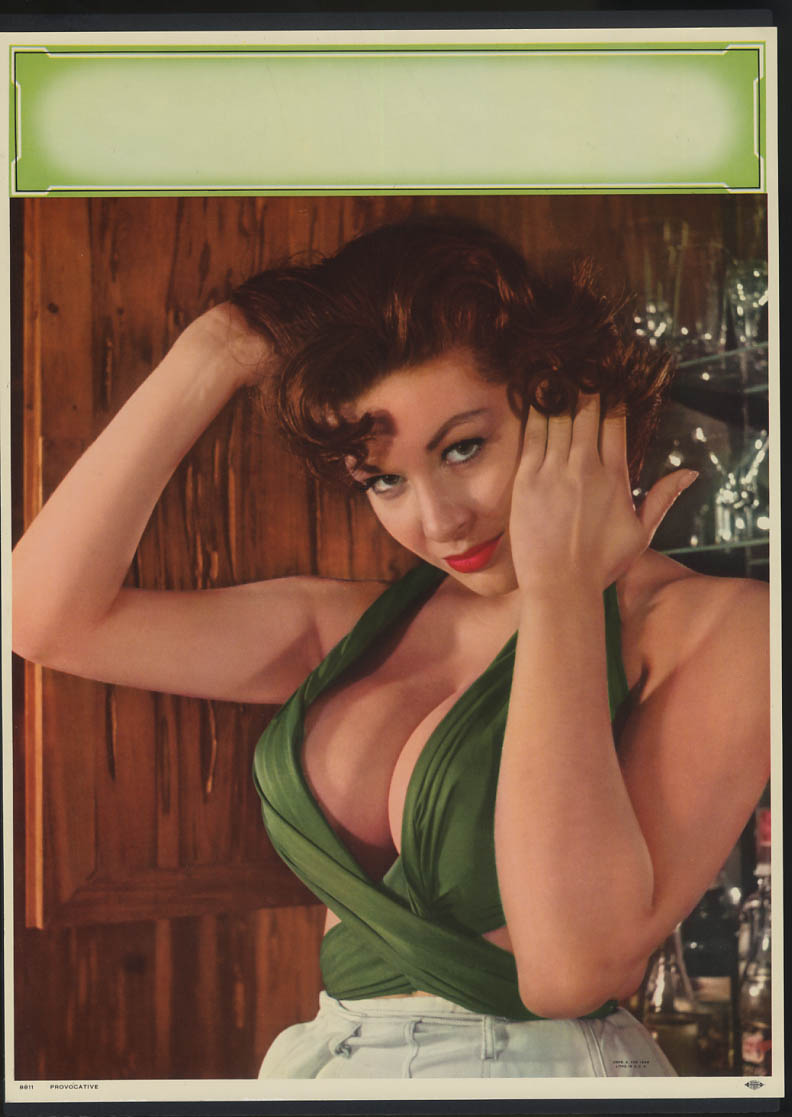 Image for Provocative pin-up calendar print 1960 brunette cleavage A Fox #8811 1960
