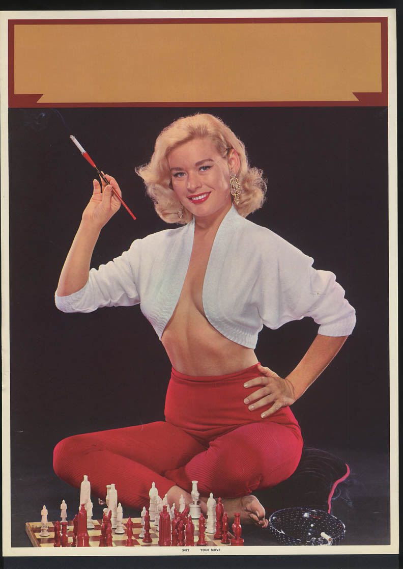 Image for Your Move  pin-up calendar print A Scheer #5472 blonde cleavage sweater chess