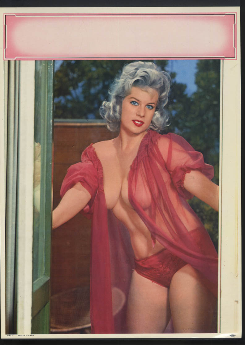 Image for Silver Charm pin-up calendar print #8937 platinum blonde pink nighty