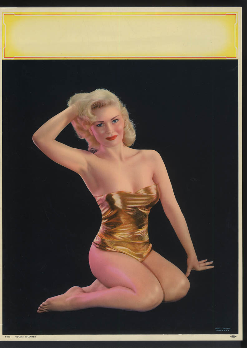 Image for Golden Charmer pin-up calendar print A Fox #8810 1960 gold lame 1-piece suit