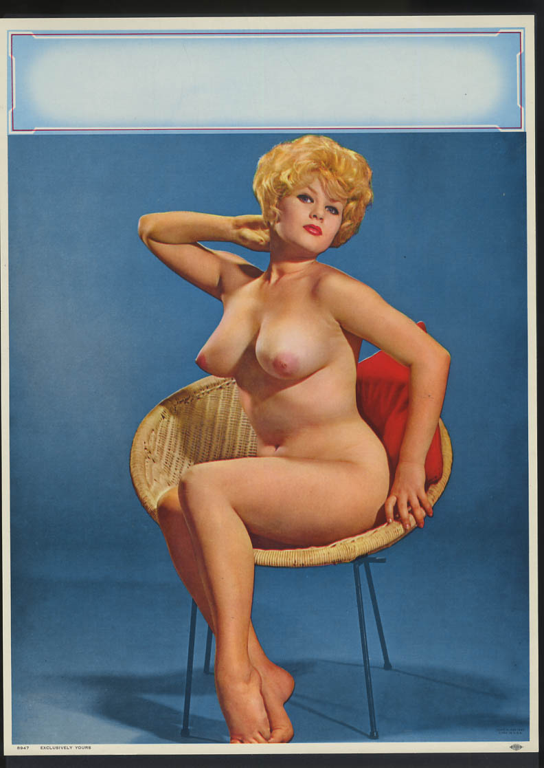 Image for Exclusively Yours pin-up calendar print A Fox #8947 1961 nude in rattan chair