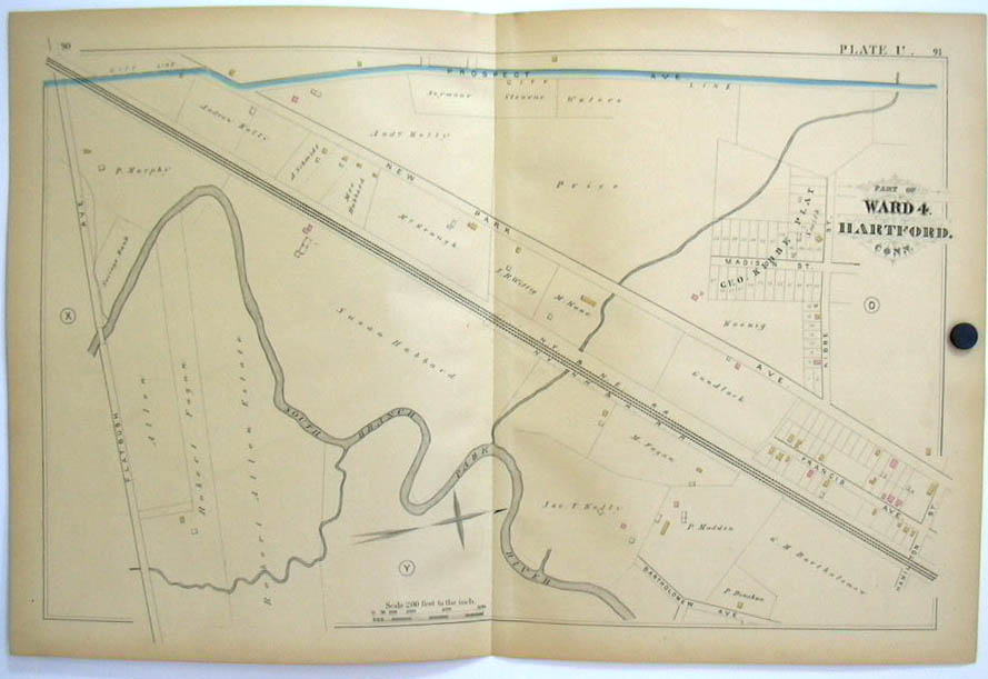 Image for Hartford CT Map 1880 Ward 4 Hubbard Kibbe Plat Allen Fagan NY NH RR Flatbush