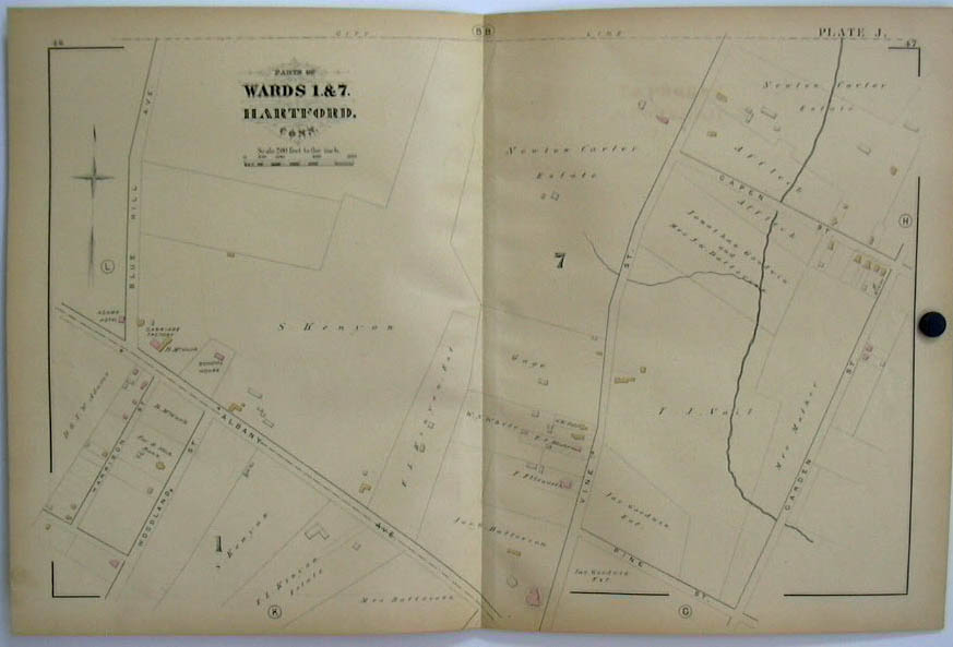 Image for Hartford CT Map 1880 Wards 1 & 7 Carriage Factory Batterson Kenyon Carter +