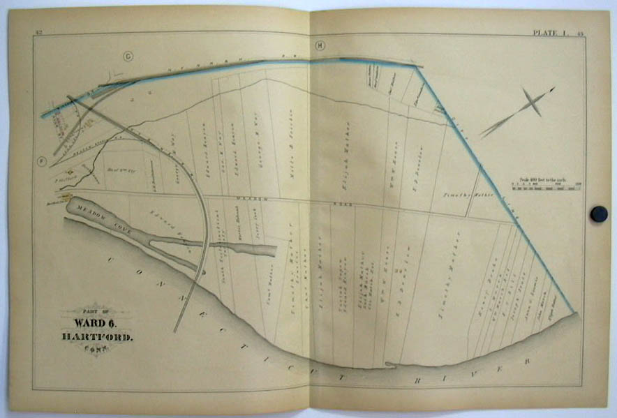 Image for Hartford CT Map 1880 Ward 6 Meadow Branch RR Mather Kenyon; Ice House