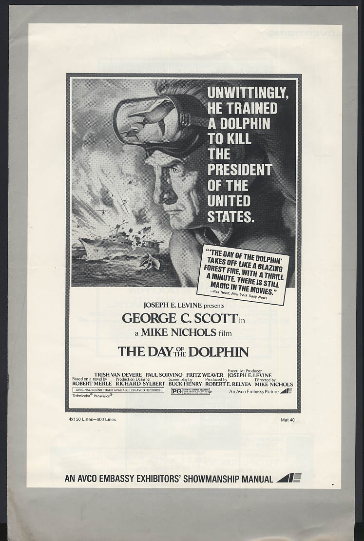 Image for The Day of the Dolphin movie pressbook George C Scott Mike Nichols 1974