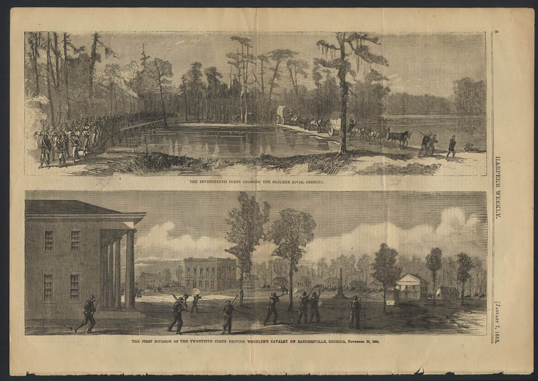 Image for HARPER'S WEEKLY 1/7 1865 17th Corps Ogechee River 20th Corps v Wheeler's Cavalry