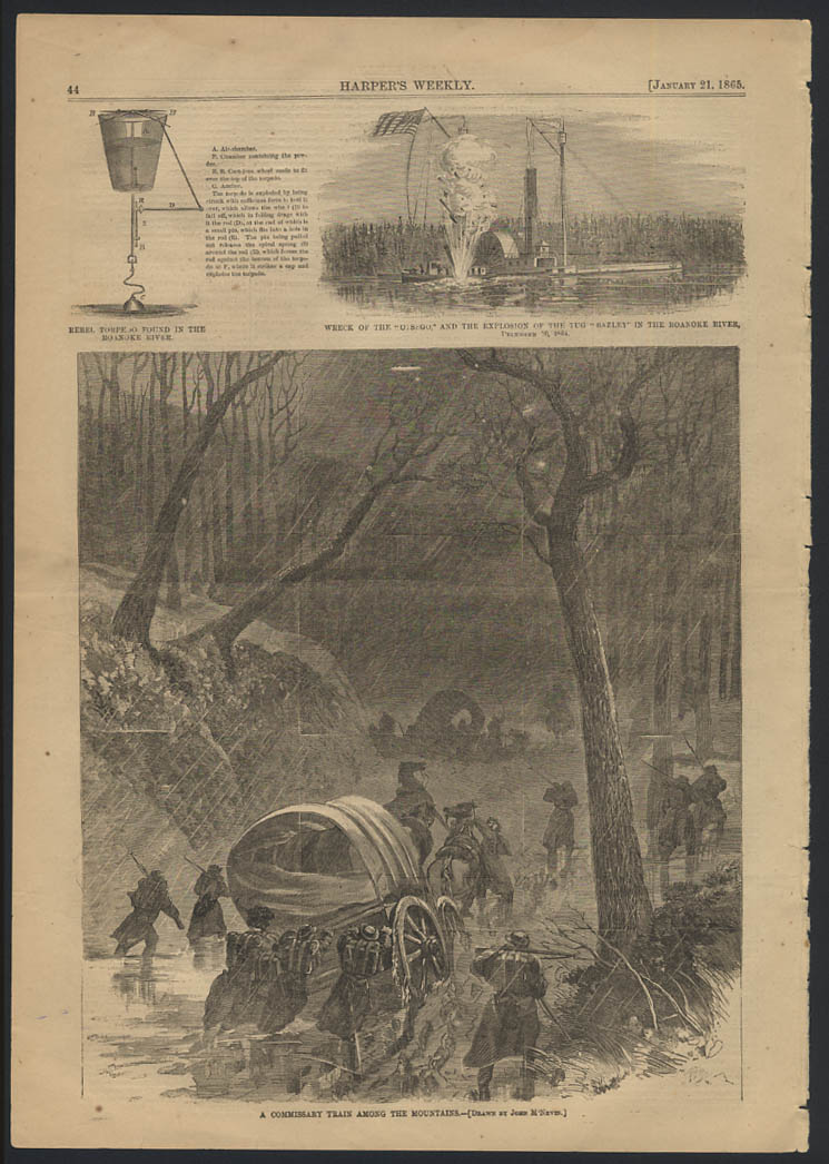Image for HARPER'S WEEKLY 1/21 1865 Rebel Torpedo; Otsego Wreck & Bazley; Commissary Train