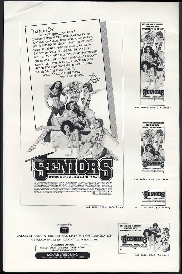 Image for Seniors movie advertising mats 1978 Dennis Quaid Gary Imhoff